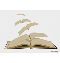Opened flying old books vector