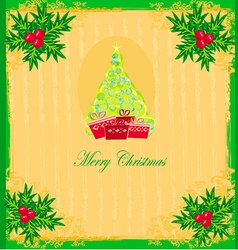 Christmas tree with abstract holly berry vector