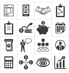 Set of icons for business finance m-banking vector