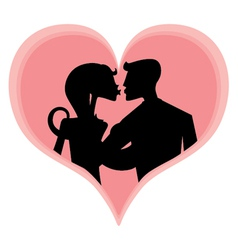 Romantic couples silhouettes vector