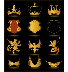 Collection heraldic gold elements on black vector