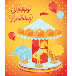 Birthday card carousel with animals vector