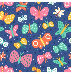 Cartoon butterflies pattern vector