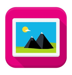 Photo image flat app icon with long shadow vector