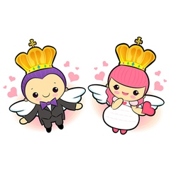 The prince and the princess flying mascot vector