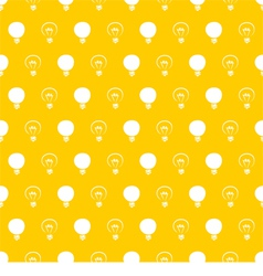 Seamless light bulbs pattern on yellow background vector