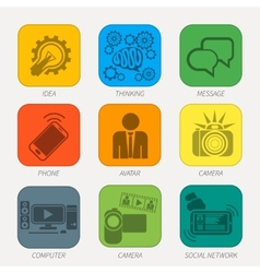 Set of media communication and hipster elements vector