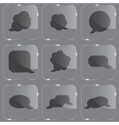 Realistic glass speech bubbles icons vector