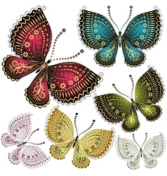 Set vintage butterflies vector
