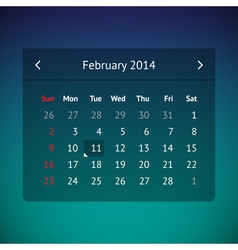 Calendar page for february 2014 vector