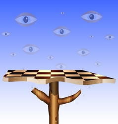 Eyes in the sky and abstract chess board vector
