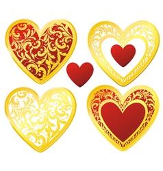 Heart floral golden vector