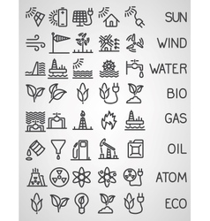 Energy and resource icon set vector