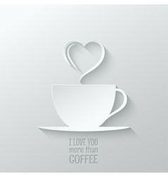 Coffee love paper cut design background vector