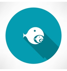 Fish-eating fish icon vector