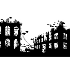 Flooded city vector