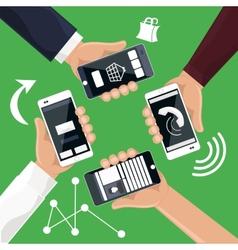 Hands holding smartphones telephones that vector