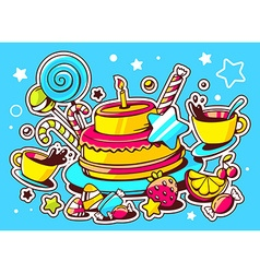 Cake with candle sweets and cup of tea o vector