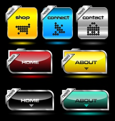 Editable website buttons wth glossy and metallic e vector