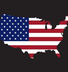 Usa map on usa flag vector