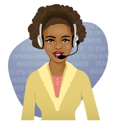 Young african american woman a call operator eps10 vector
