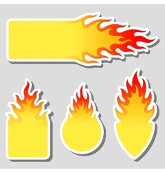 Fire flame tag label set vector
