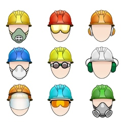Set of worker icons in helmet with protective vector