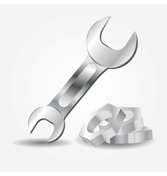 Wrench and screw-nut icon vector