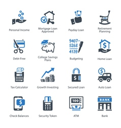 Finance icons set 2 - blue series vector