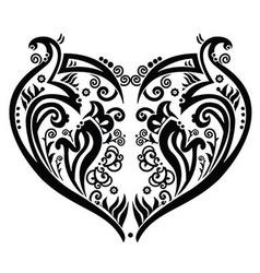 Swirly heart tatoo inspired vector