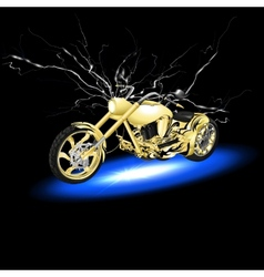 Motorcycle with lightning vector