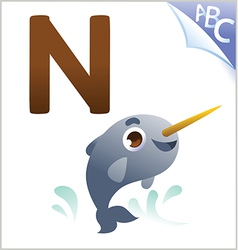 Animal alphabet for the kids n for the narwhal vector