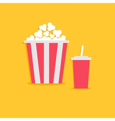 Popcorn and soda with straw cinema icon flat vector