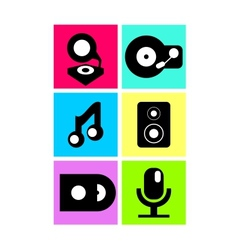 Neon colored music icons flat design vector