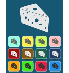 Cheese icon with color variations vector