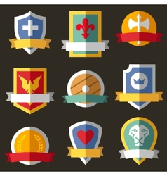 Coats of arms shields ribbons vector