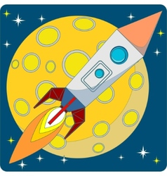 Space rocket on moon background vector