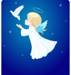 Angel with dove vector