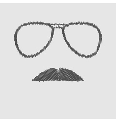 Mens glasses and mustache scribble effect vector