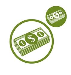 Dollars cash money stack simple single color icon vector
