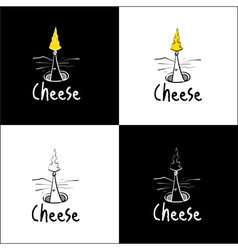 Sketchy mouse and cheese logo vector