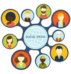 Social media network connection concept vector