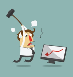 Furious frustrated businessman hitting computer vector