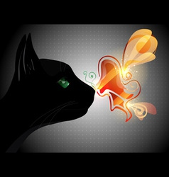Butterfly on cat nose vector