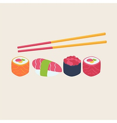 Sushi and sashimi seafood cuisine vector