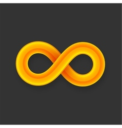 Yellow infinity symbol icon from glossy wire with vector