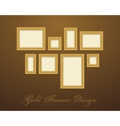Gold frame for text picture photo or your design vector