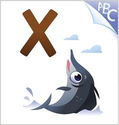 Animal alphabet for the kids x for the xiphias vector
