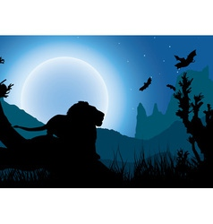 African night background lion has a rest under the vector