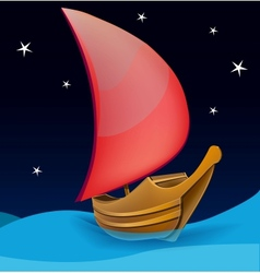 Romantic boat with red sail on a night background vector